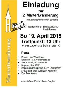 Einladung zur Marterlwanderung 2015