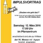 Samstag, 12. März, 17.00 Uhr, Pfarrzentrum mit Univ.-Prof. DDr. Matthias Beck